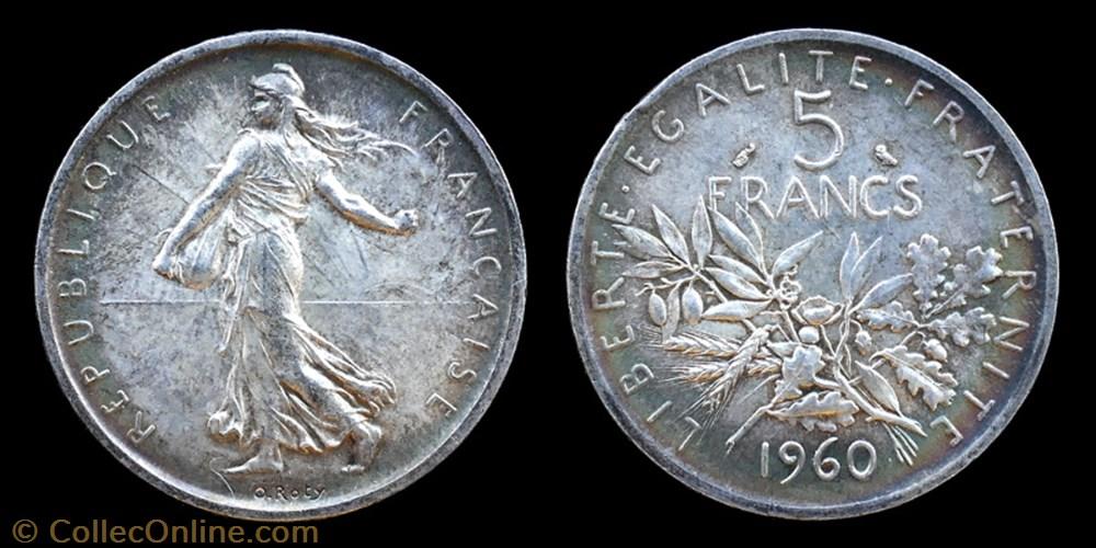 monnaie france moderne 5 republique 1958 5 francs 1960