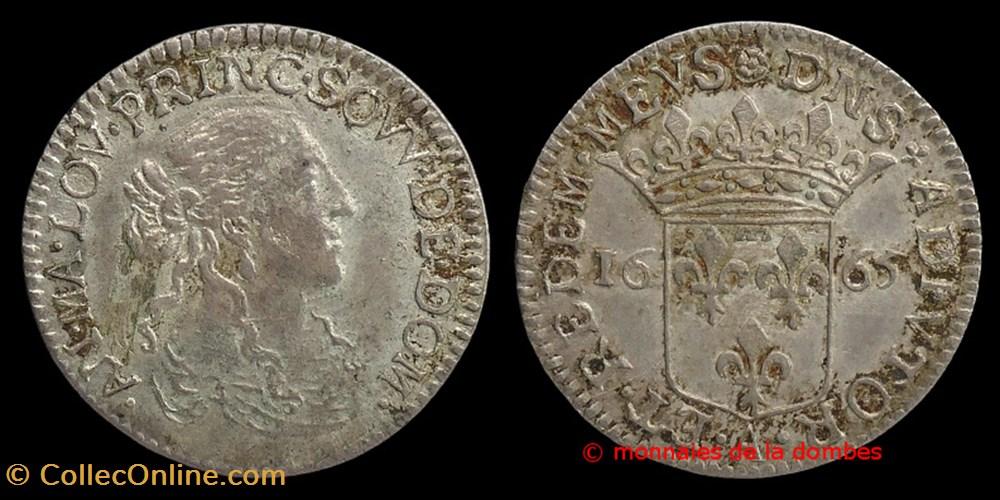 monnaie france feodale anne marie louise orleans 1650 1693 douzieme ecu 1665