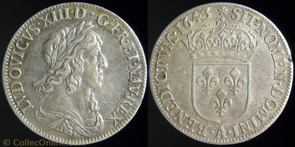 monnaie france royale louis xiii 1610 1643 quart ecu argent du 3 type 1643 a