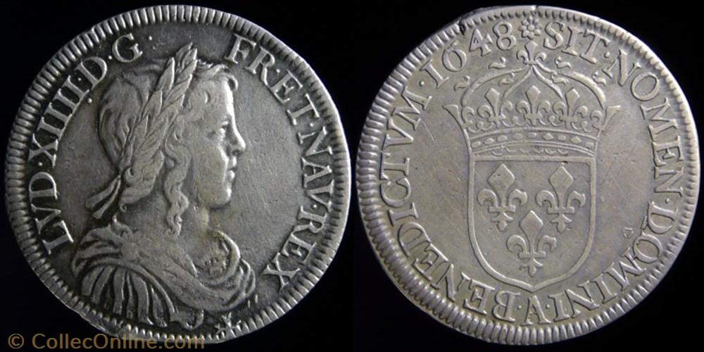 monnaie france royale louis xiv 1643 1715 demi ecu au buste juvenile 1648 a