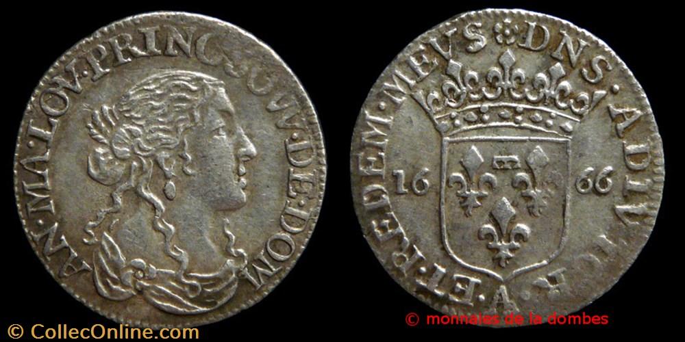monnaie france feodale anne marie louise orleans 1650 1693 douzieme ecu 1666