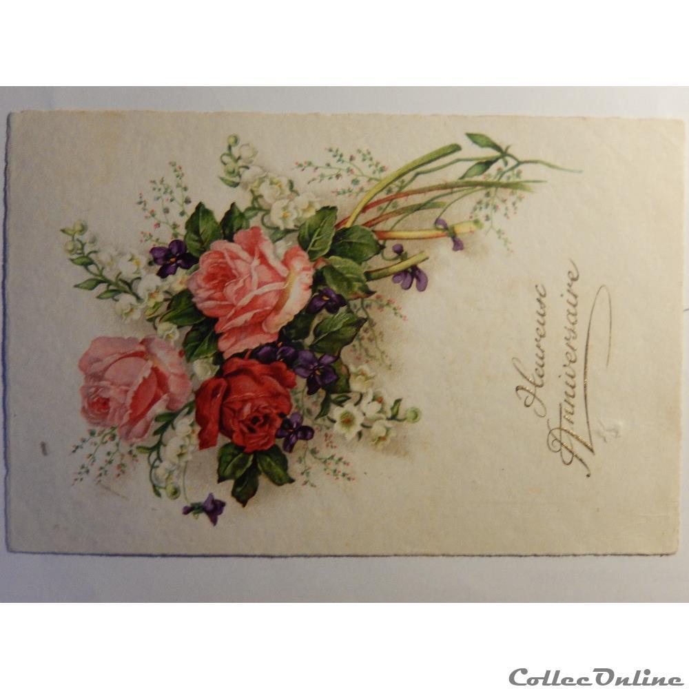Cpa D Heureux Anniversaire Avec Un Bouquet De Fleurs Cartes