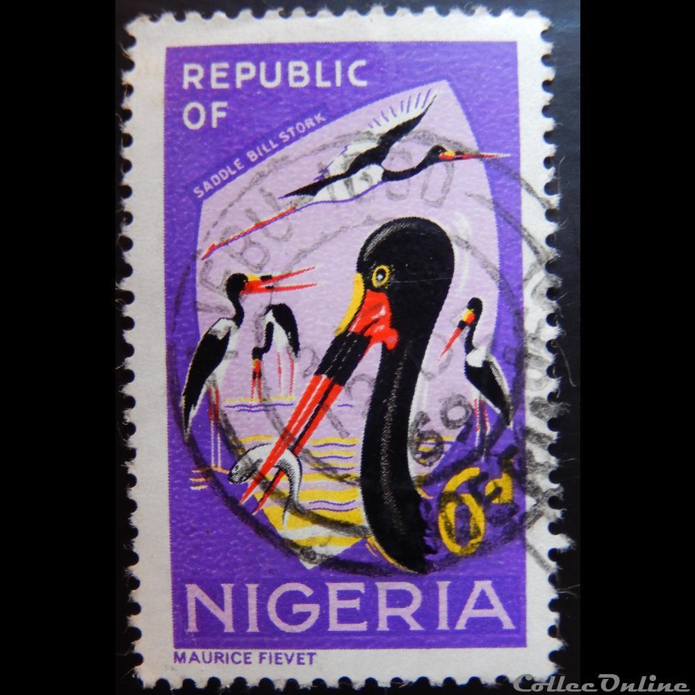 timbre afrique nigerium nigeria 00183 jabiru du senegal 6d de 1966
