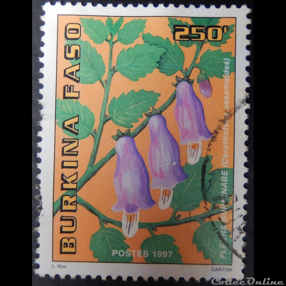 timbre afrique burkina faso 01002ad fleurs burkinabe 250f de 1997