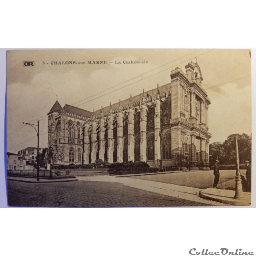 carte postale france champagne ardenne cpa de la marne chalons sur marne la cathedrale