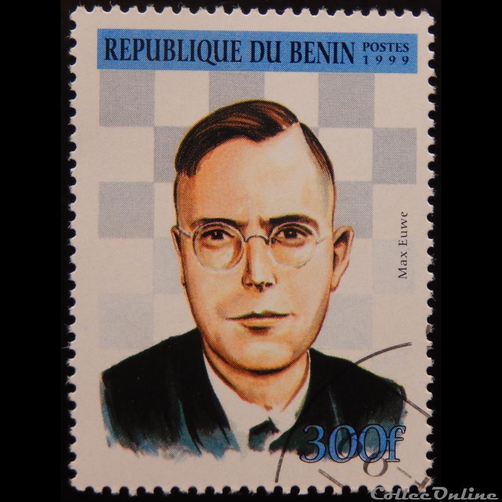 timbre afrique benin 00890 max euwe 300f de 1999