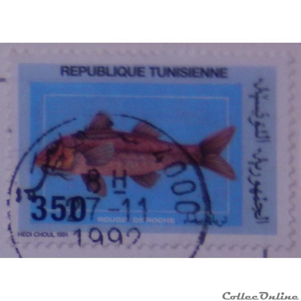 timbre afrique tunisie 01164 poisson rouget barbet de roche 350lsd de 1991