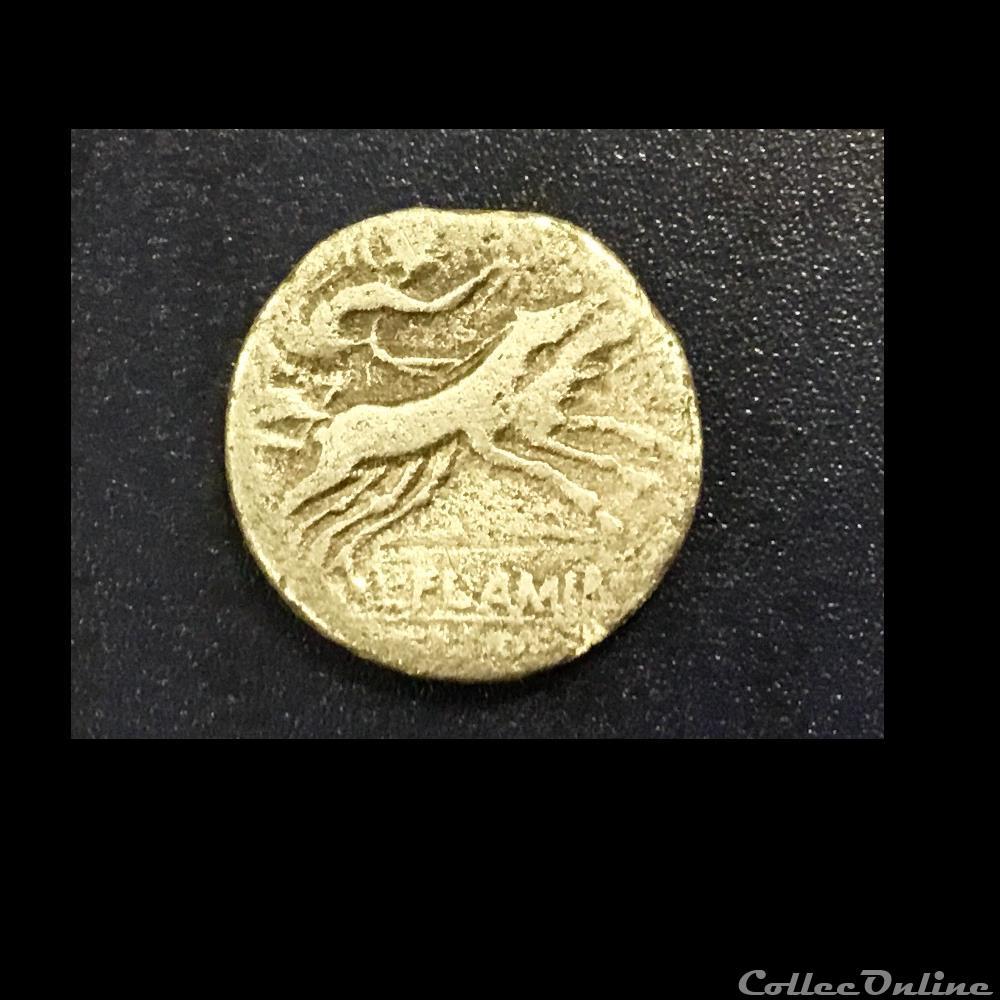 monnaie antique romaine denie famile flaminia