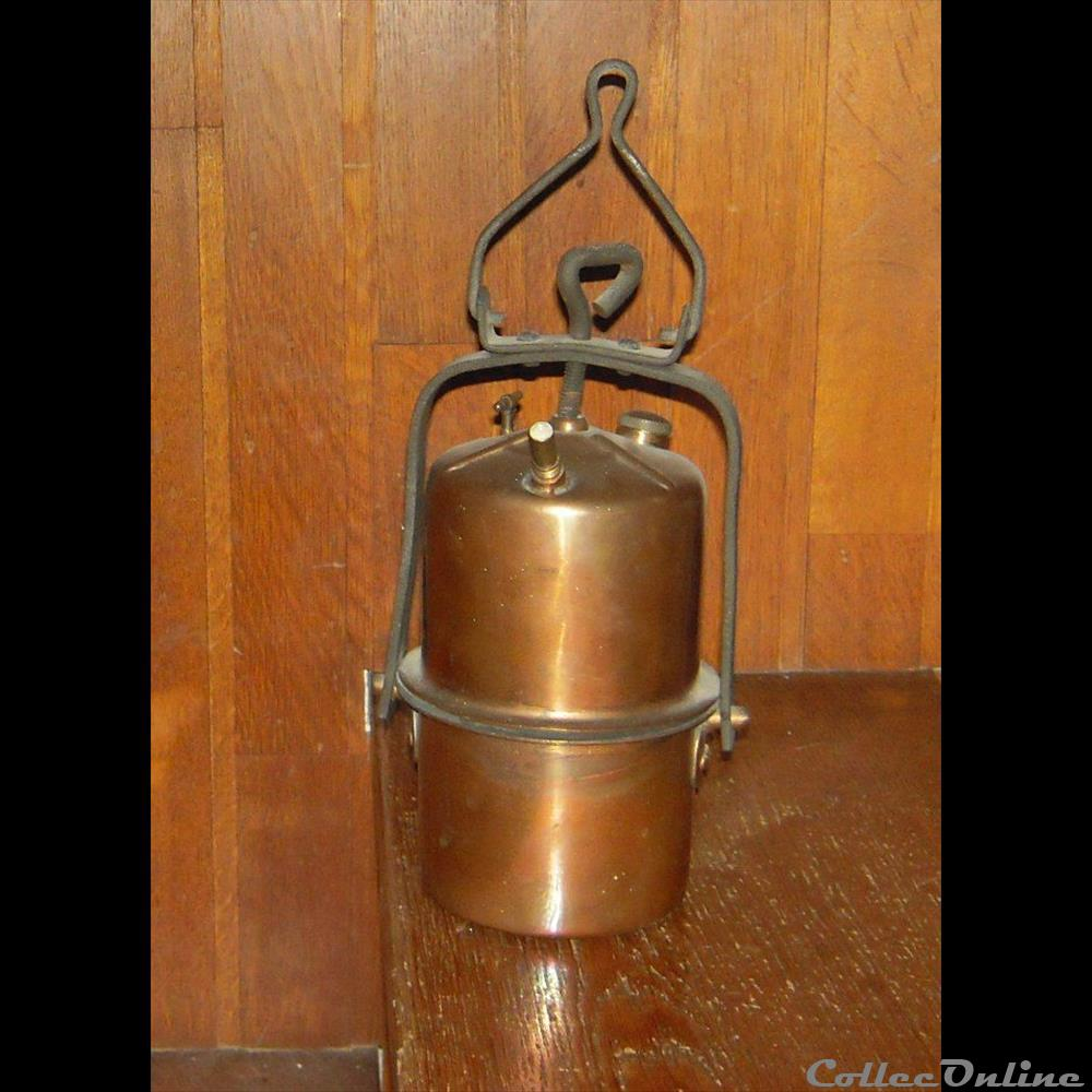 art antiquite luminaire exterieur lampe a carbure en cuivre