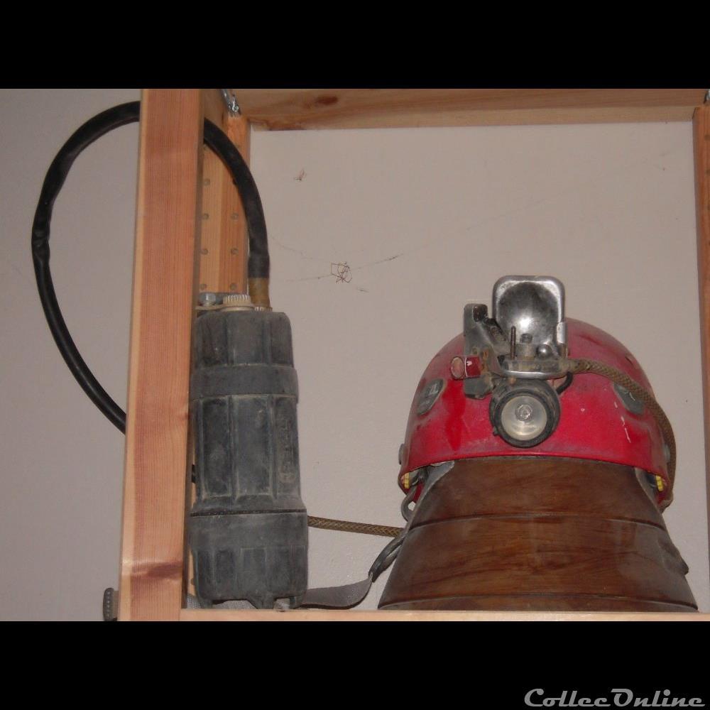 art antiquite luminaire mine casque speleo 2