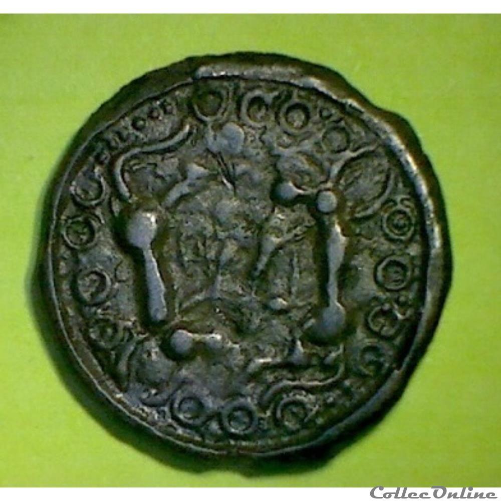 monnaie antique gauloise serie 35 dt 213 a var potin a oiseau et au poisson et animaux affrontes