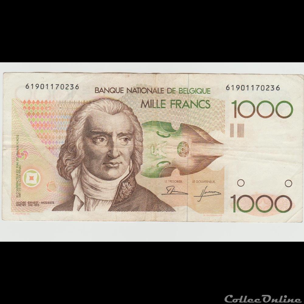 billet europe 1 000 franc 144 belgique 1980