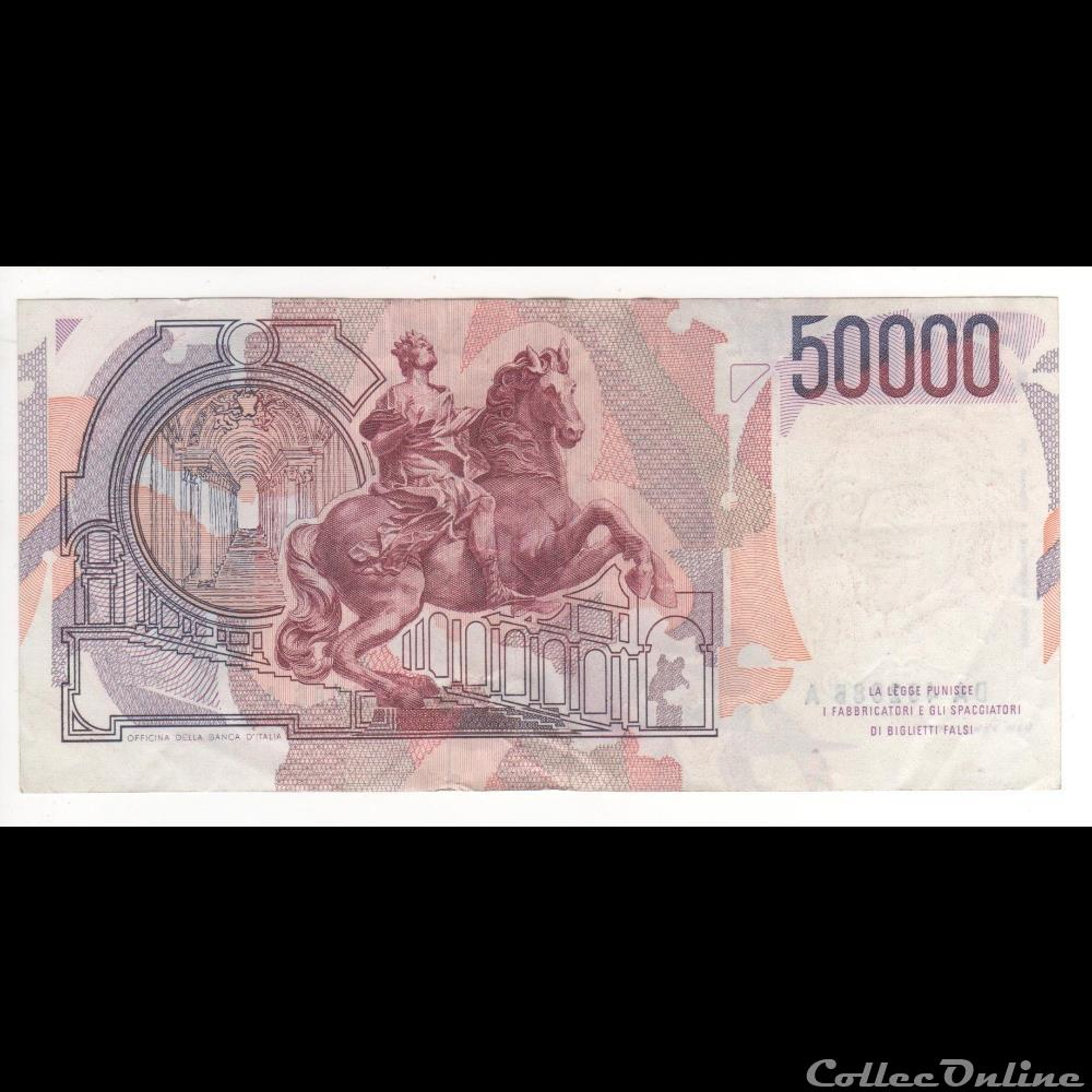 billet europe 50 000 lires 113 italie 1984 1er type