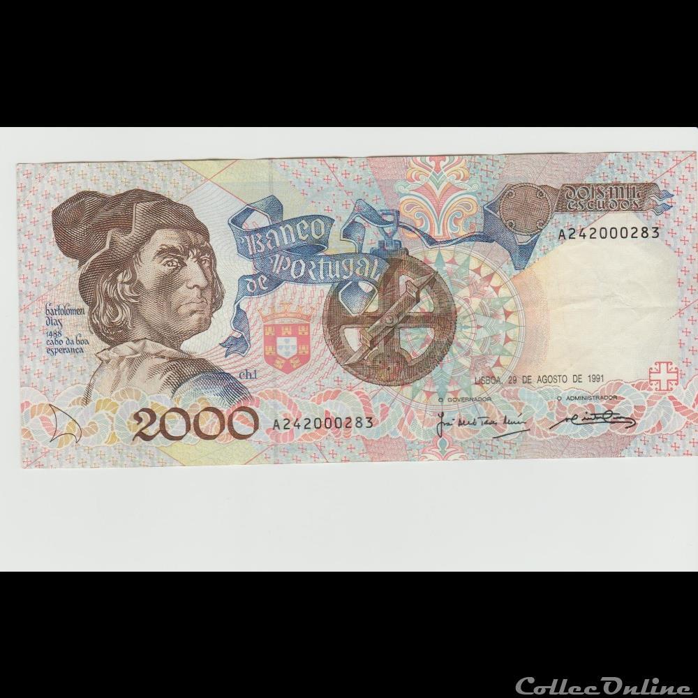 billet europe 2 000 escudos 186 portugal 1991