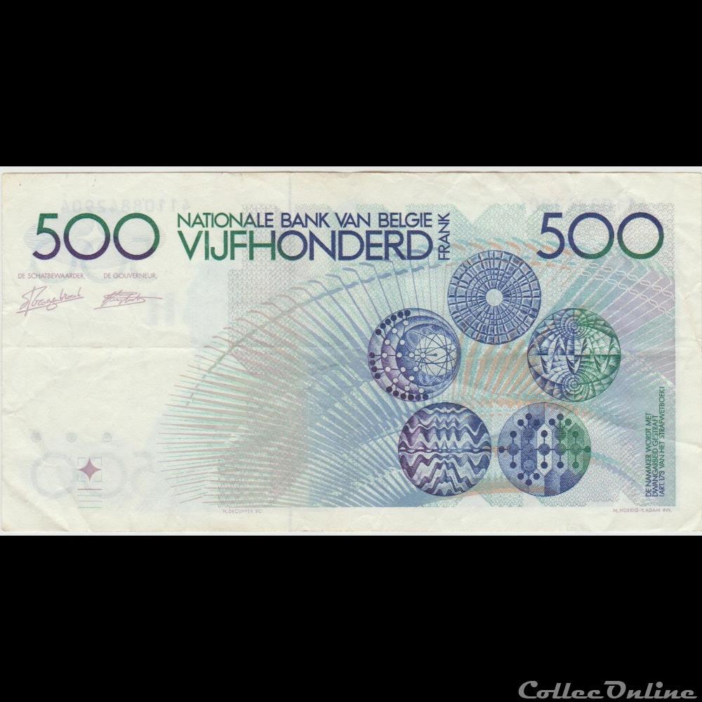 billet europe 500 franc 143 belgique 1982