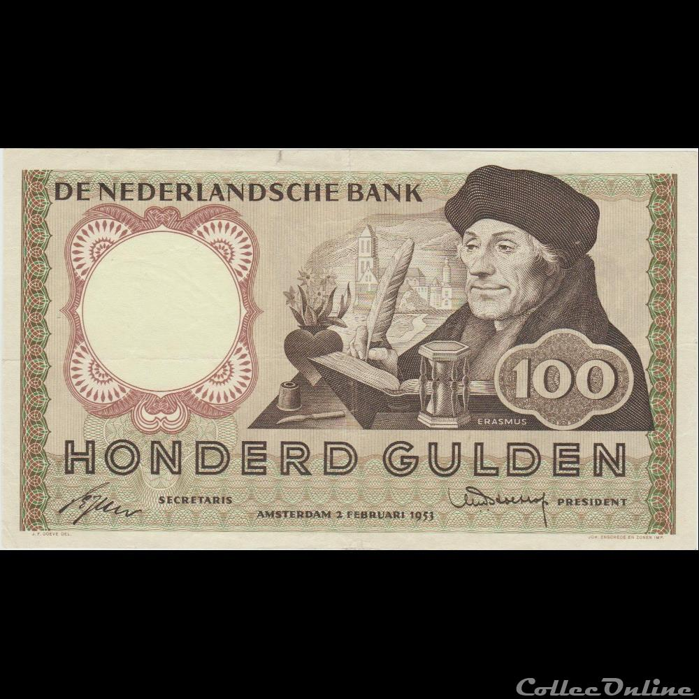 billet europe 100 gulden 88 pays bas 1953