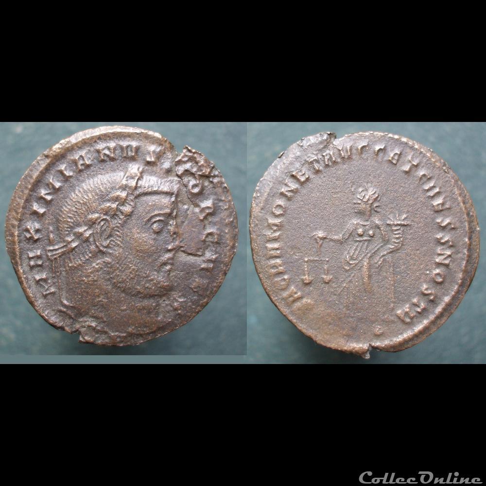 monnaie antique romaine galere nummus ticinum moneta