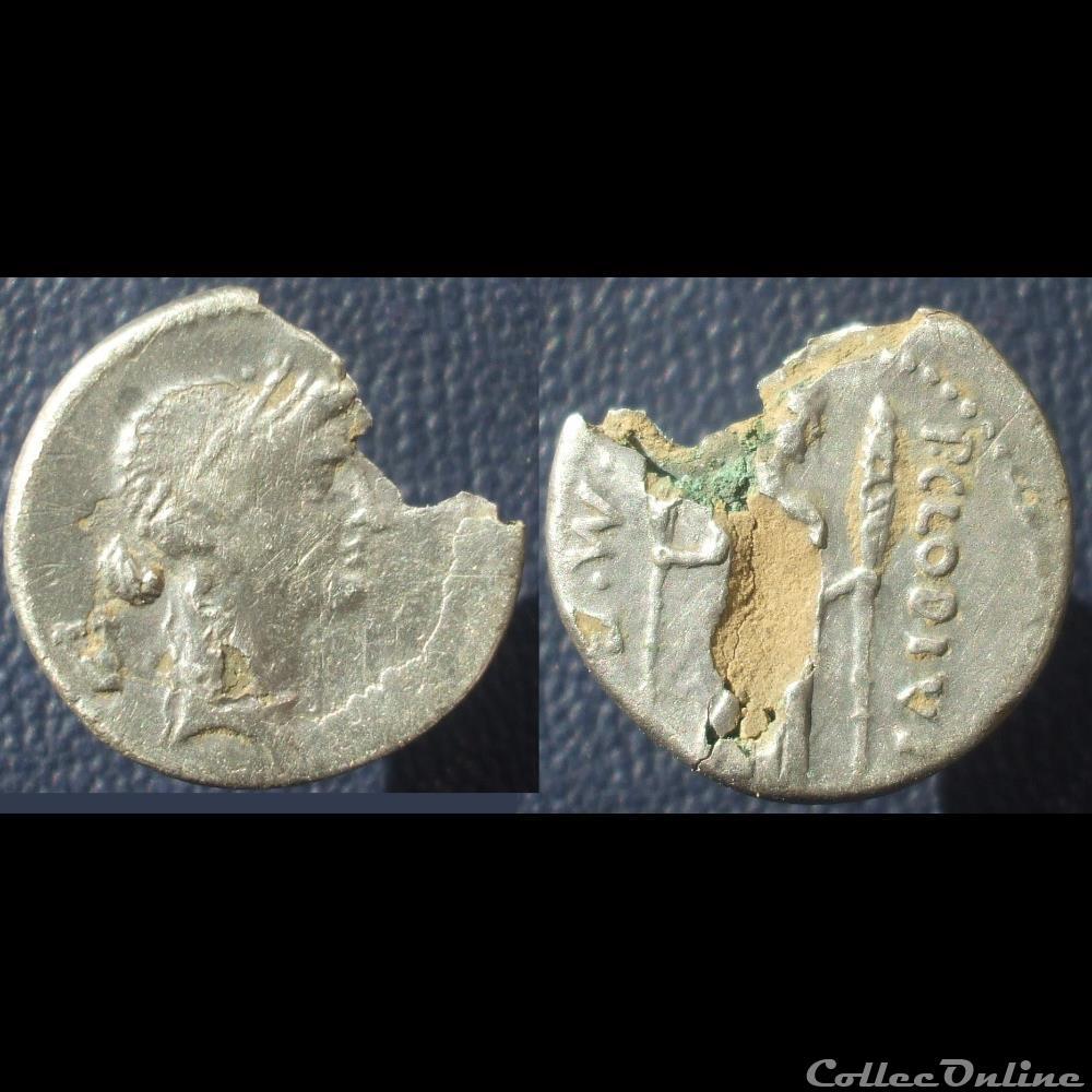 monnaie antique romaine denier clodia apollon diane