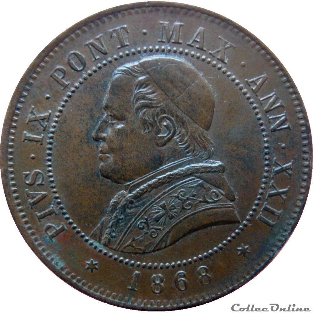 monnaie monde italie vatican et etats pontificaux 4 soldi 20 centesimi pie ix an xxiii 1868 r rome mont 403