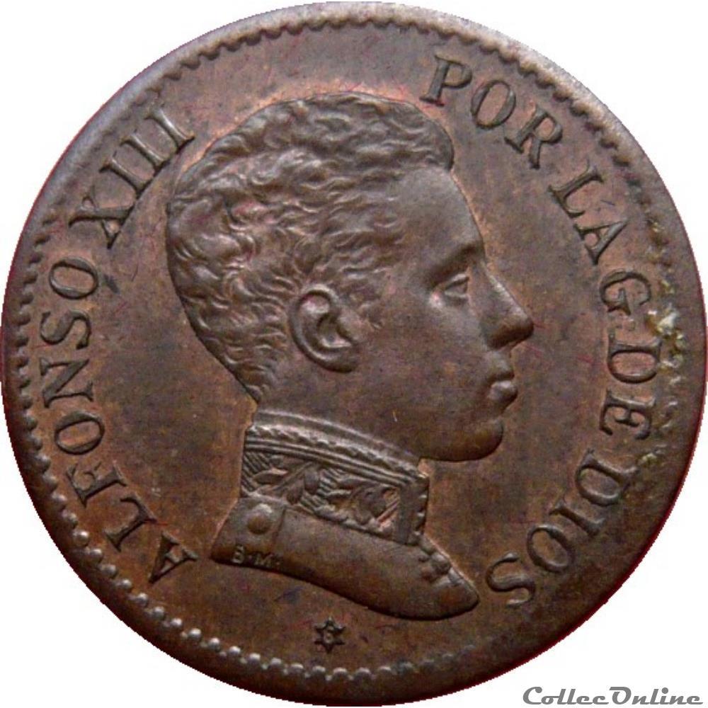 monnaie monde espagne 1 centimo alphonse xiii 1906 sl v madrid km 20 726