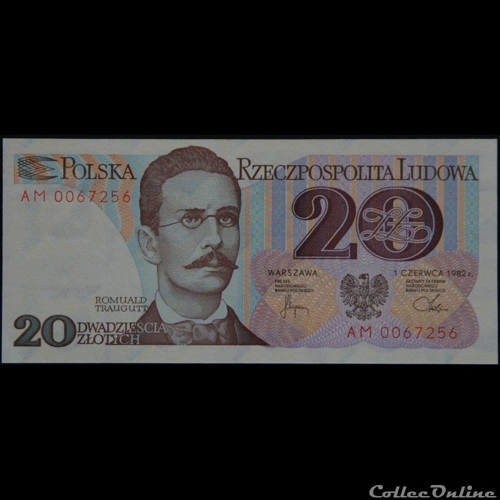 billet pologne kirghizistan 20 zlotych 1982
