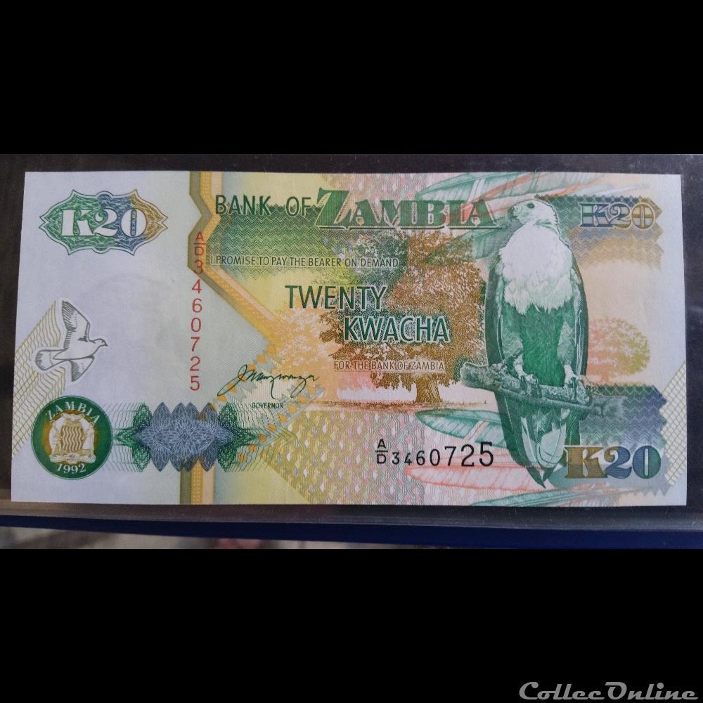 billet amerique du nord afrique sud 20 kwacha 1992