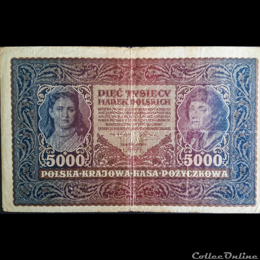 billet pologne diver 5000 marek type tadeusz kosciuszko 1920