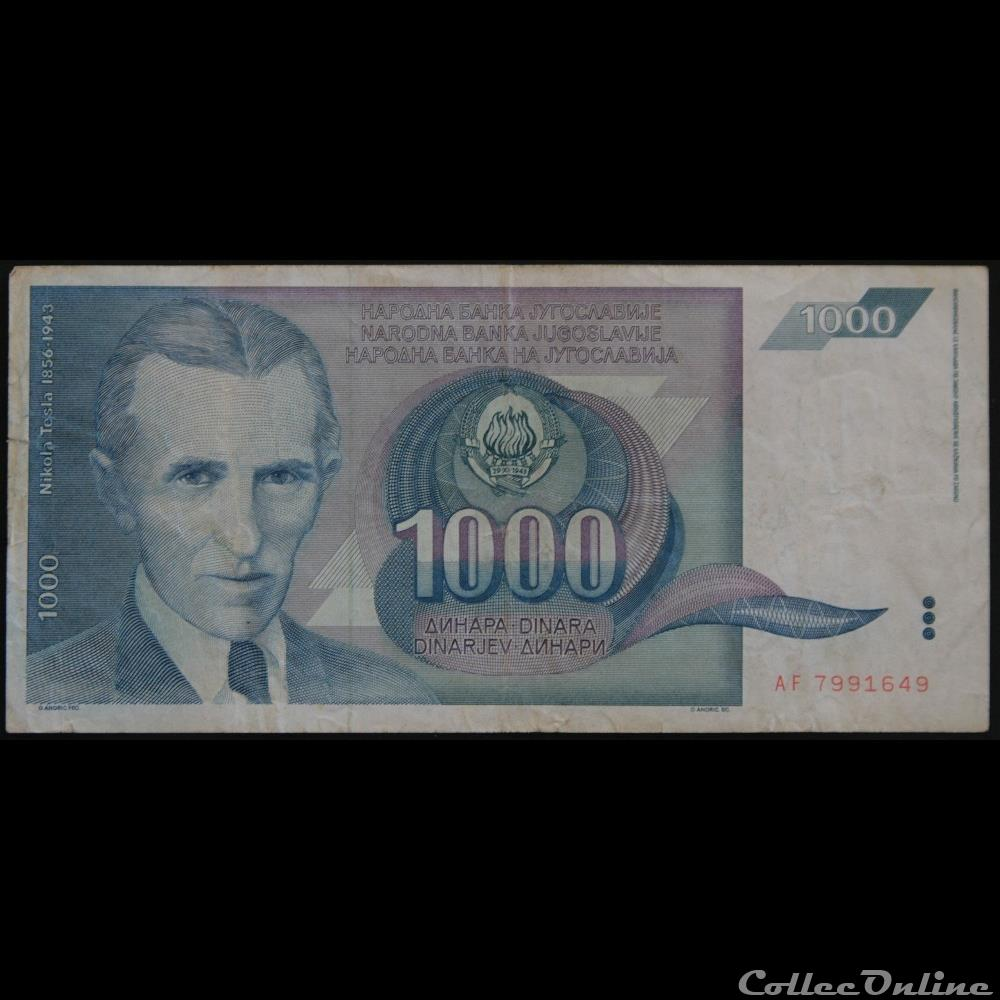billet europe autriche 1000 dinara 1991