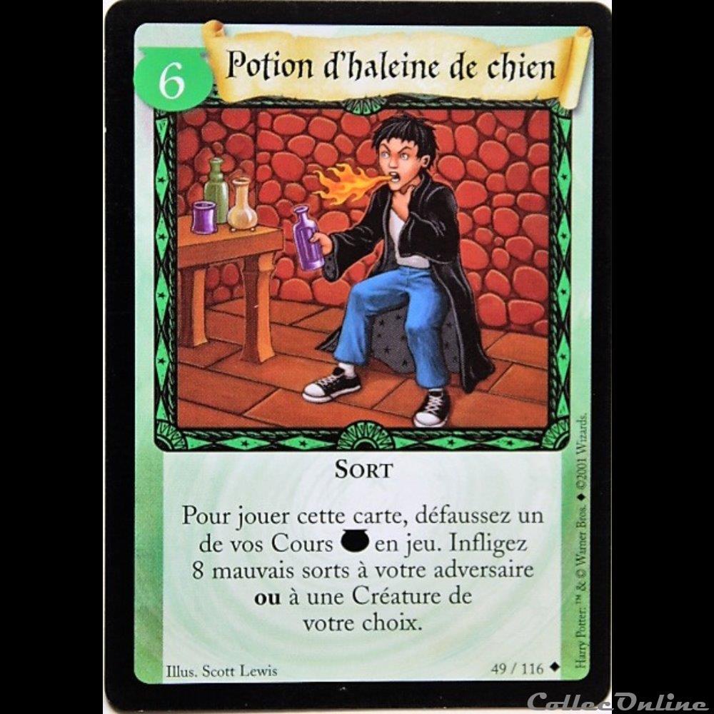 jeux jouet jeu carte collectionner harry potter set de base 049 potion haleine de chien peu commune