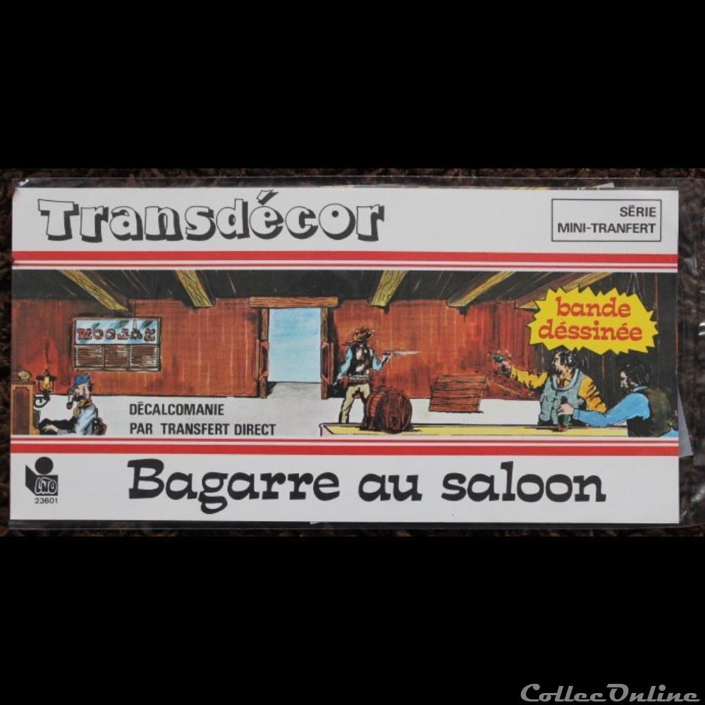 decoration magnet autocollant transdecor mini transfert bagarre au saloon