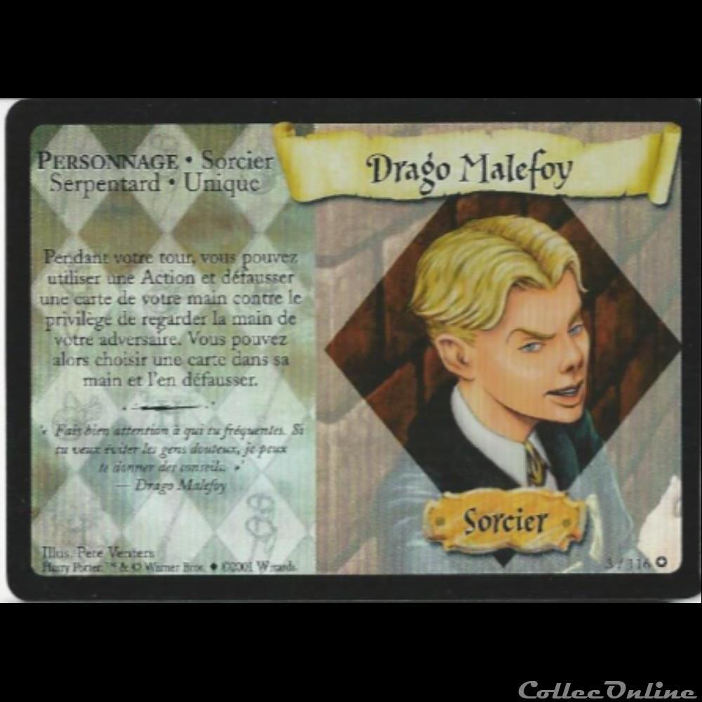 jeux jouet jeu carte collectionner harry potter set de base 003 a drago malefoy rare