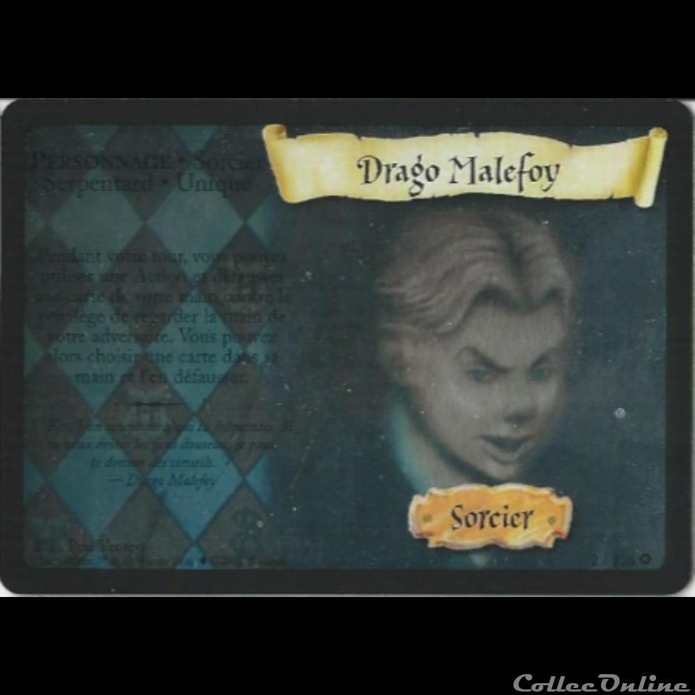 jeux jouet jeu carte collectionner harry potter set de base 002 drago malefoy rare holographique
