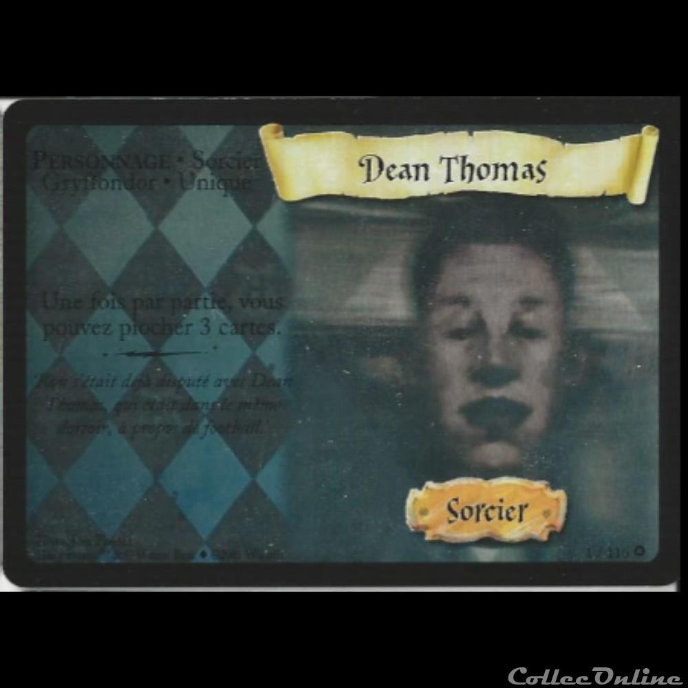 jeux jouet jeu carte collectionner harry potter set de base 001 dean thomas rare holographique