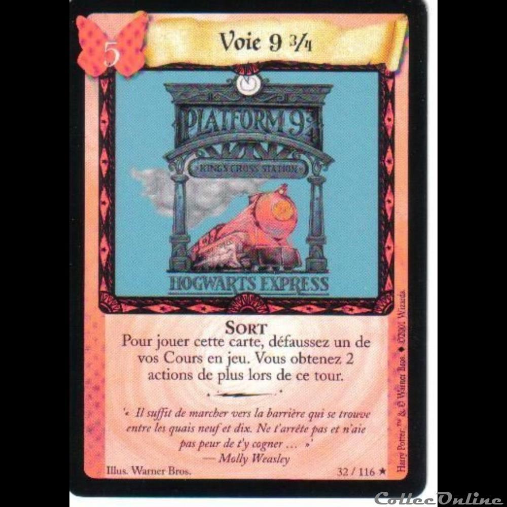 jeux jouet jeu carte collectionner harry potter set de base 032 voie 9 3 4 rare