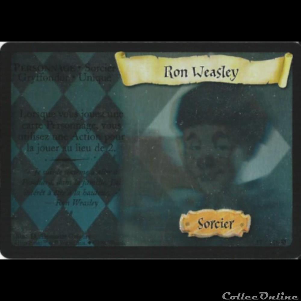 jeux jouet jeu carte collectionner harry potter set de base 017 ron weasley rare holographique
