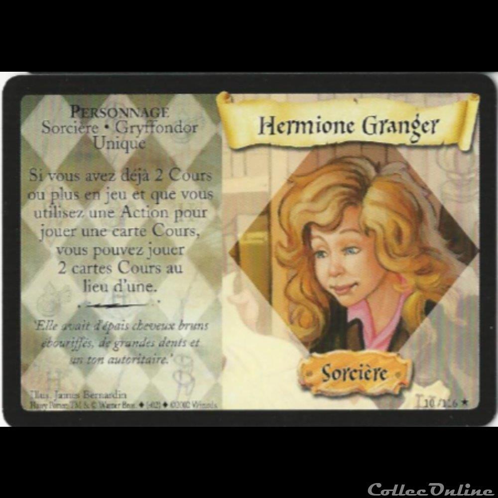 jeux jouet jeu carte collectionner harry potter set de base 010 b hermione granger rare