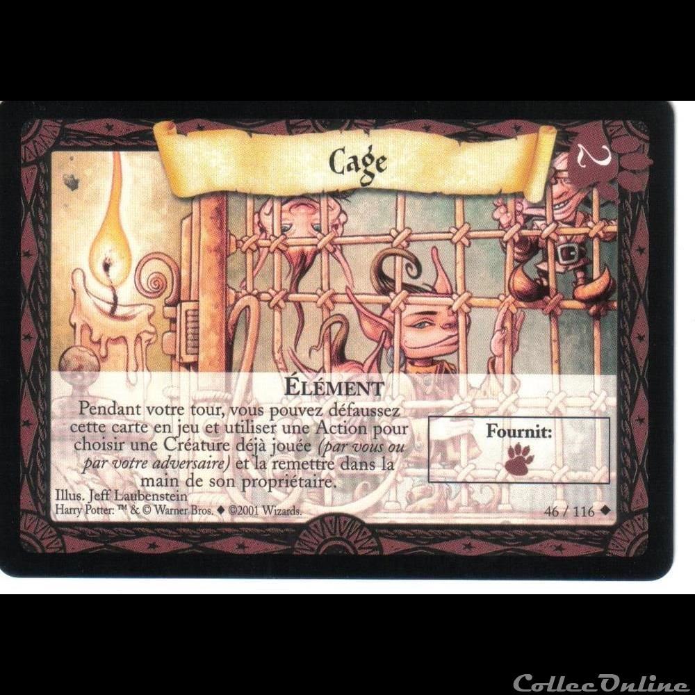 jeux jouet jeu carte collectionner harry potter set de base 046 cage peu commune