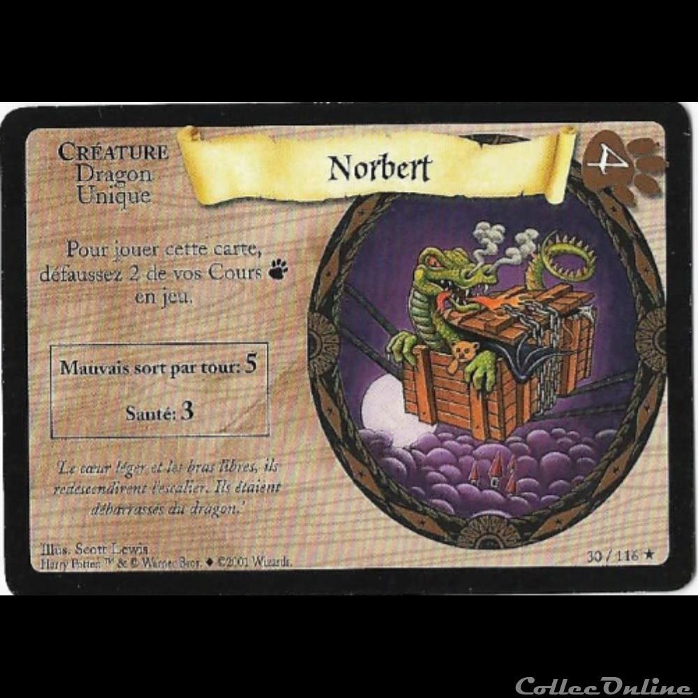 jeux jouet jeu carte collectionner harry potter set de base 030 norbert rare