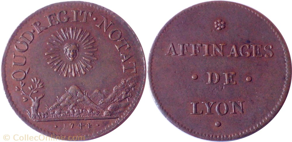monnaie jeton mereaux france 1744 affinages de lyon