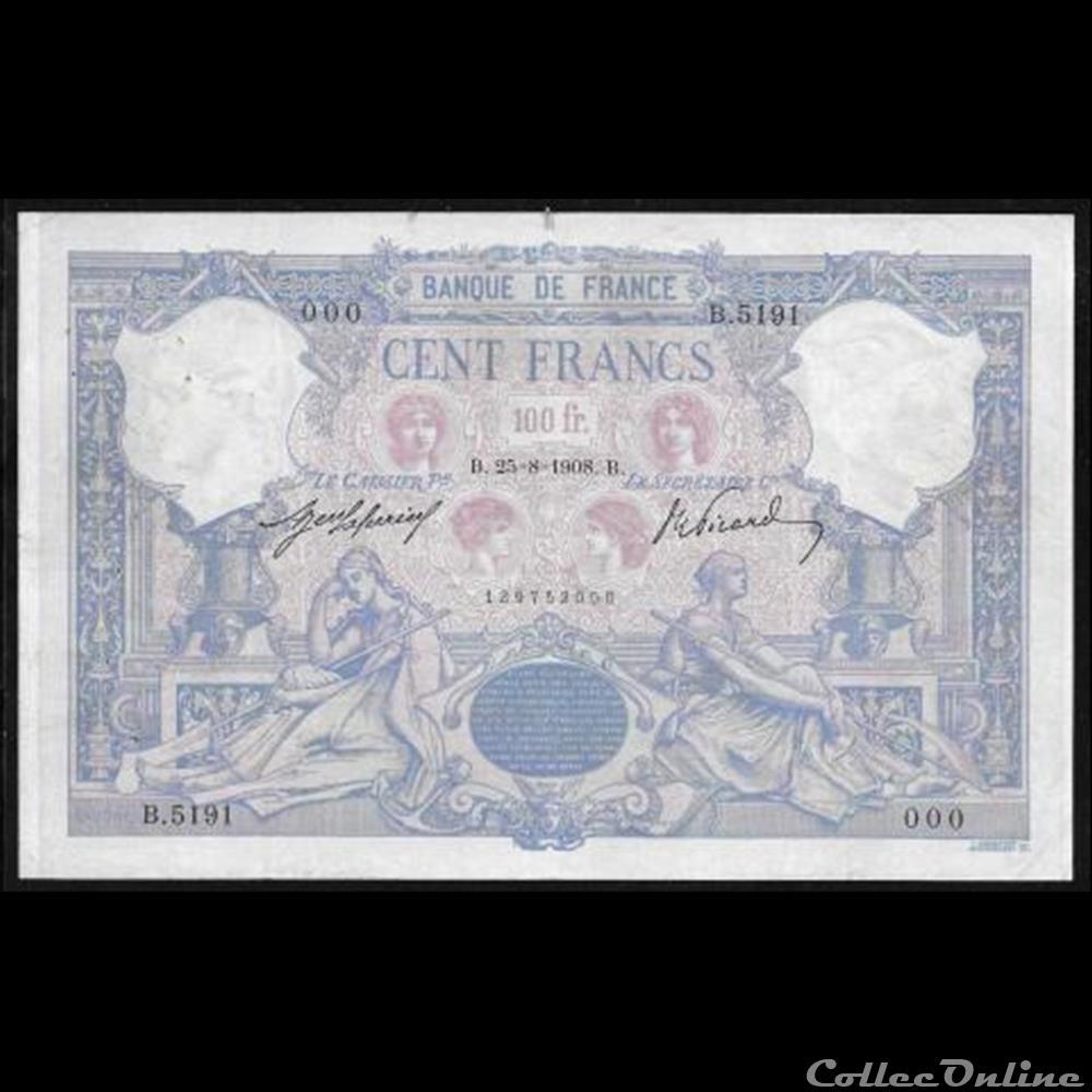 billet france diver 100 f bleu et rose