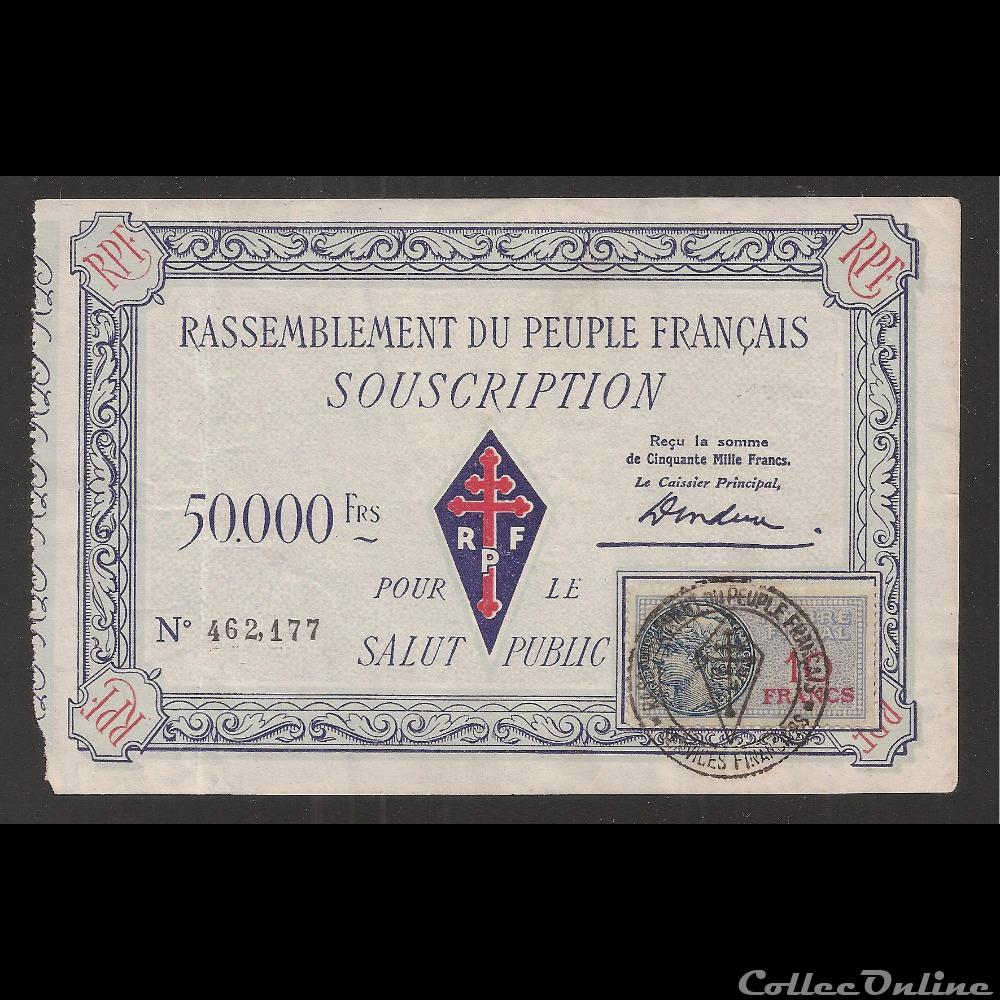 billet france diver 50 000 f type 2