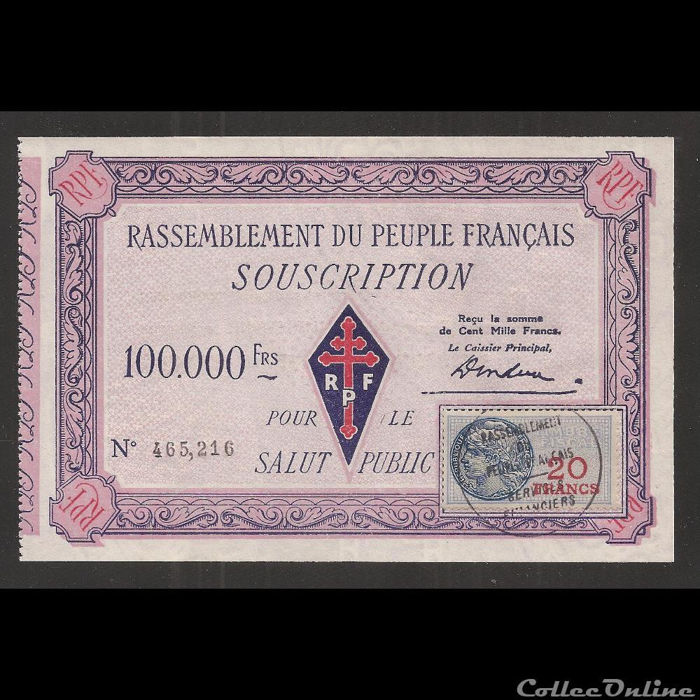 billet france diver 100 000 f type 1