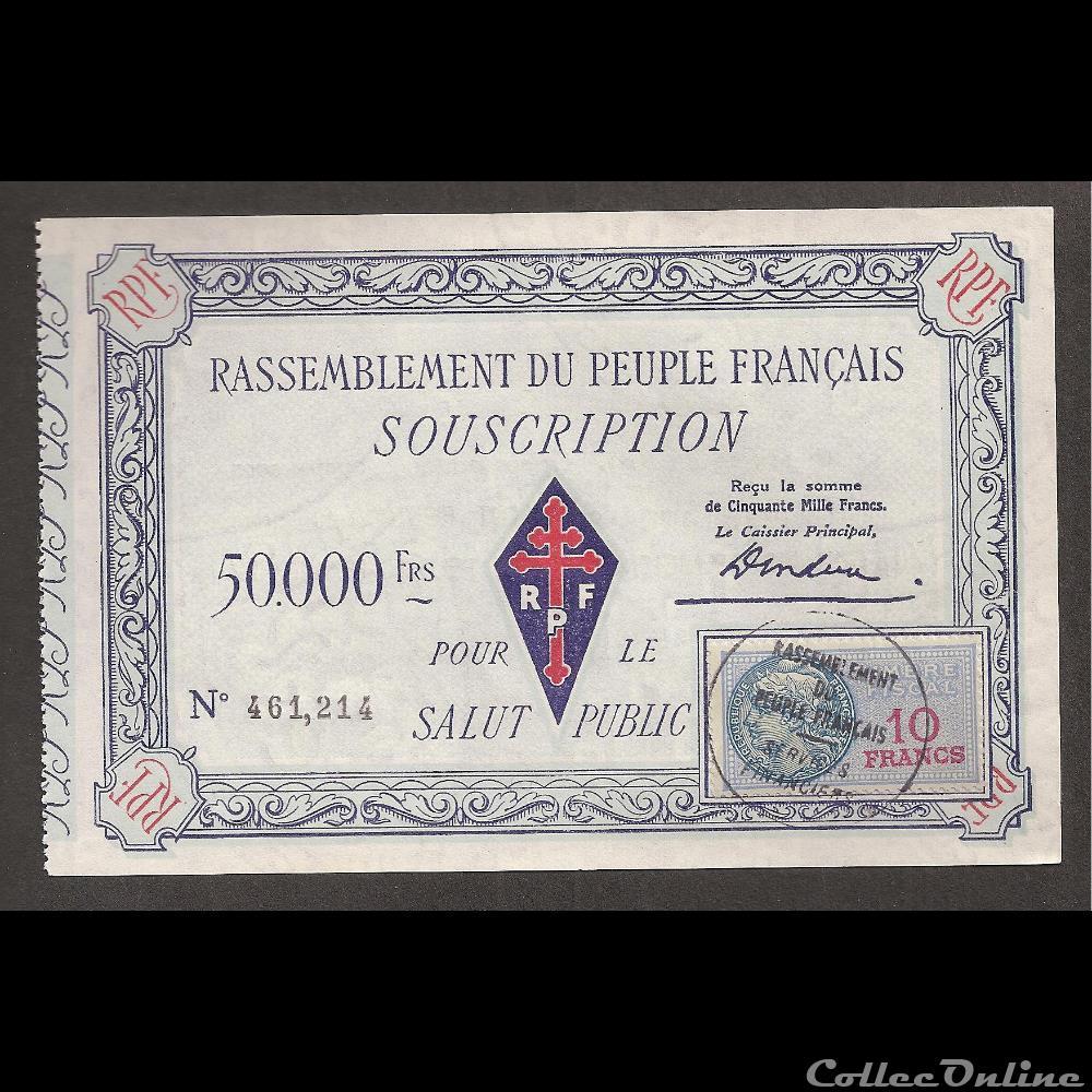 billet france diver 50 000 f type 1