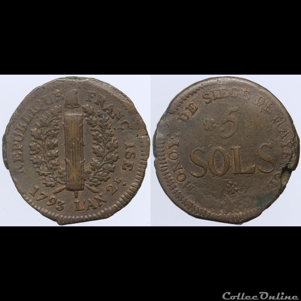 monnaie france moderne convention 5 sols du siege de mayence 1793