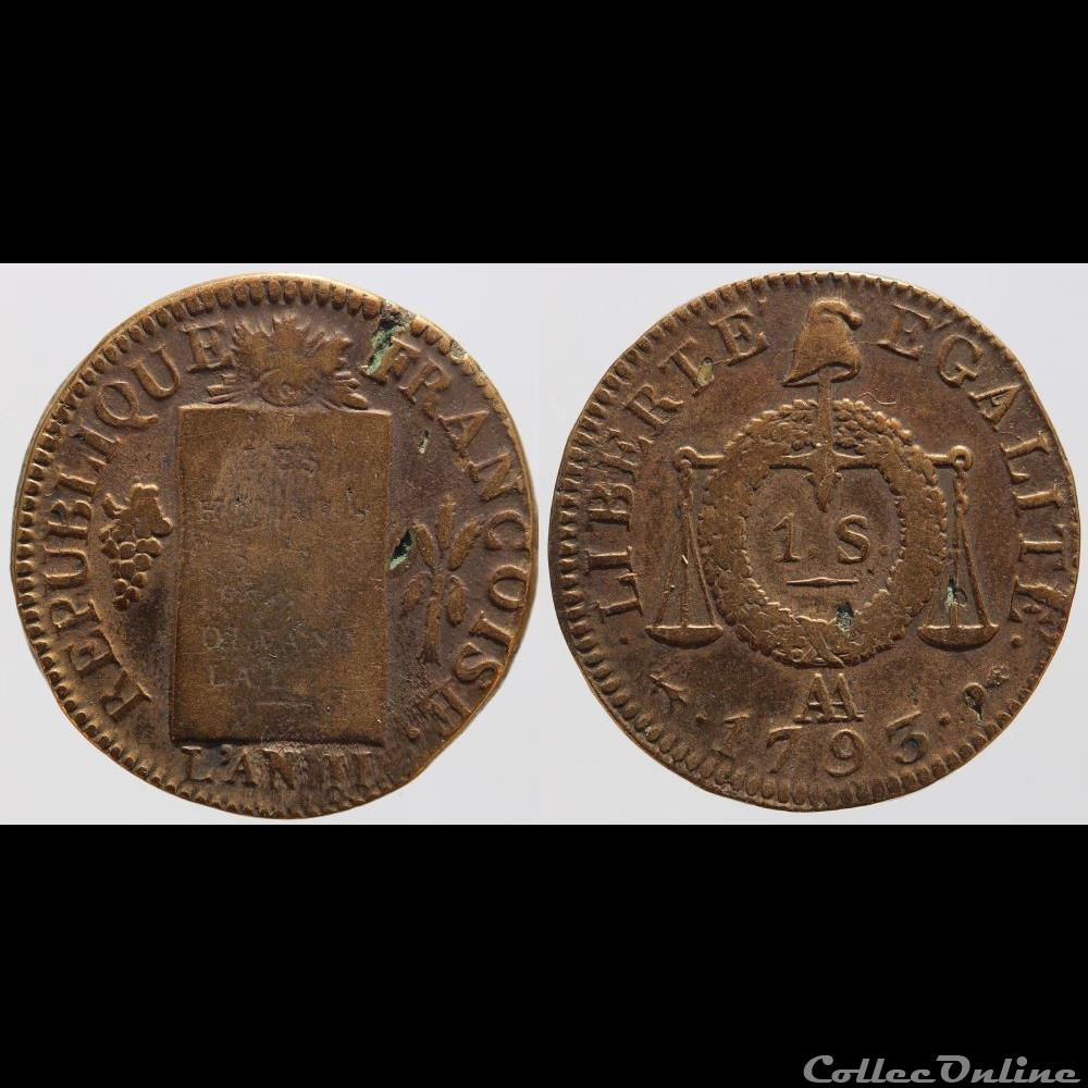 monnaie france moderne convention 1 sol 1793 metz