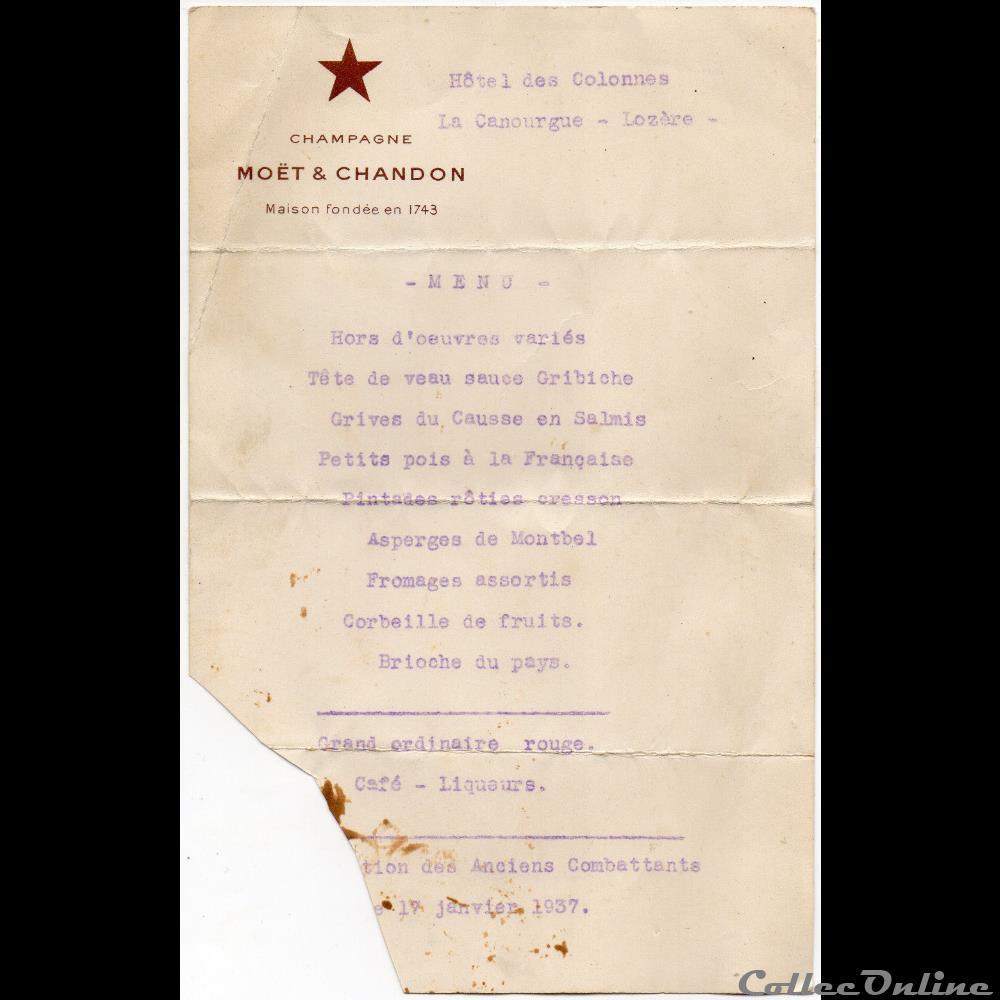vieux papier montre ancienne menu des anciens combattants 1937