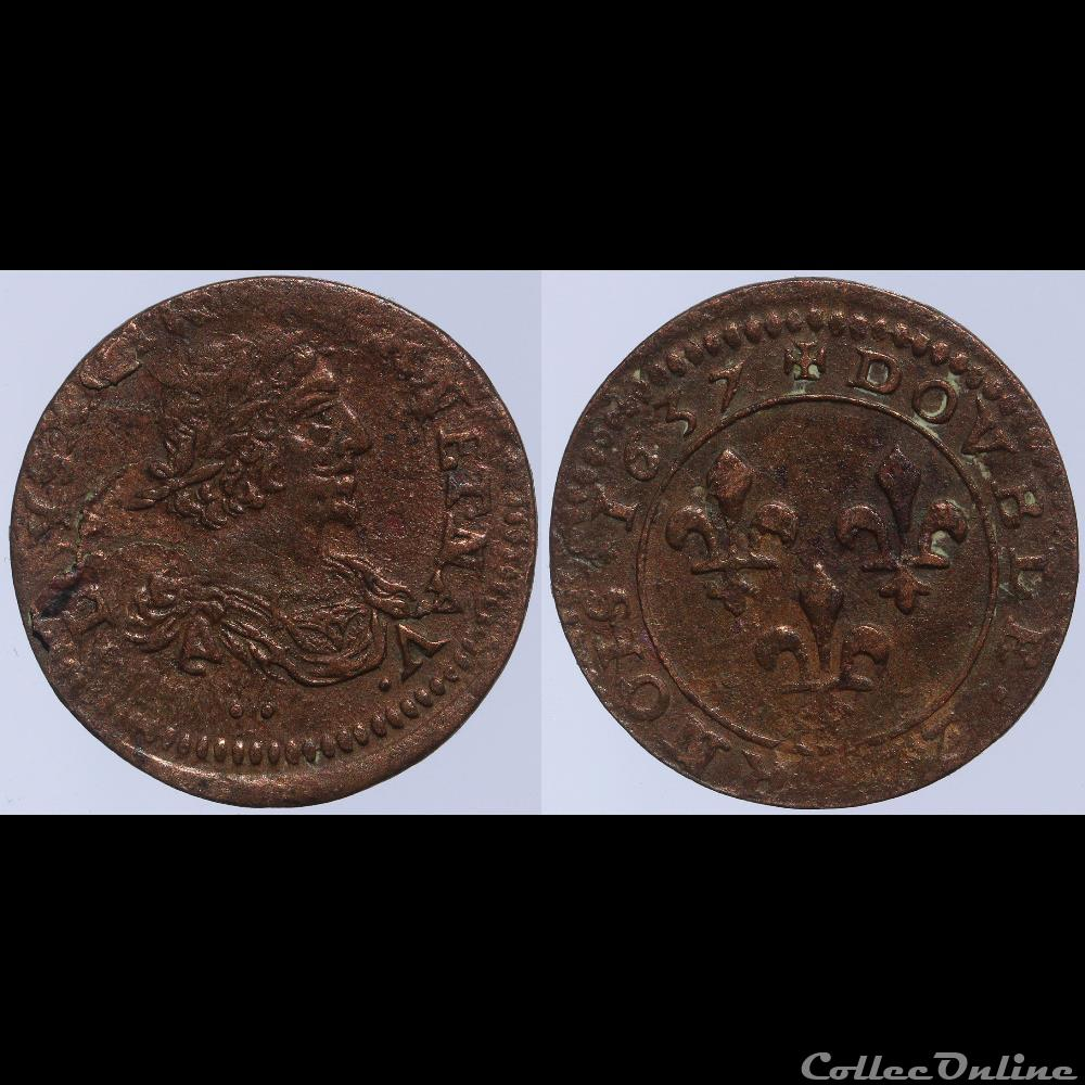 monnaie france royale louis xiii double tournois 1637