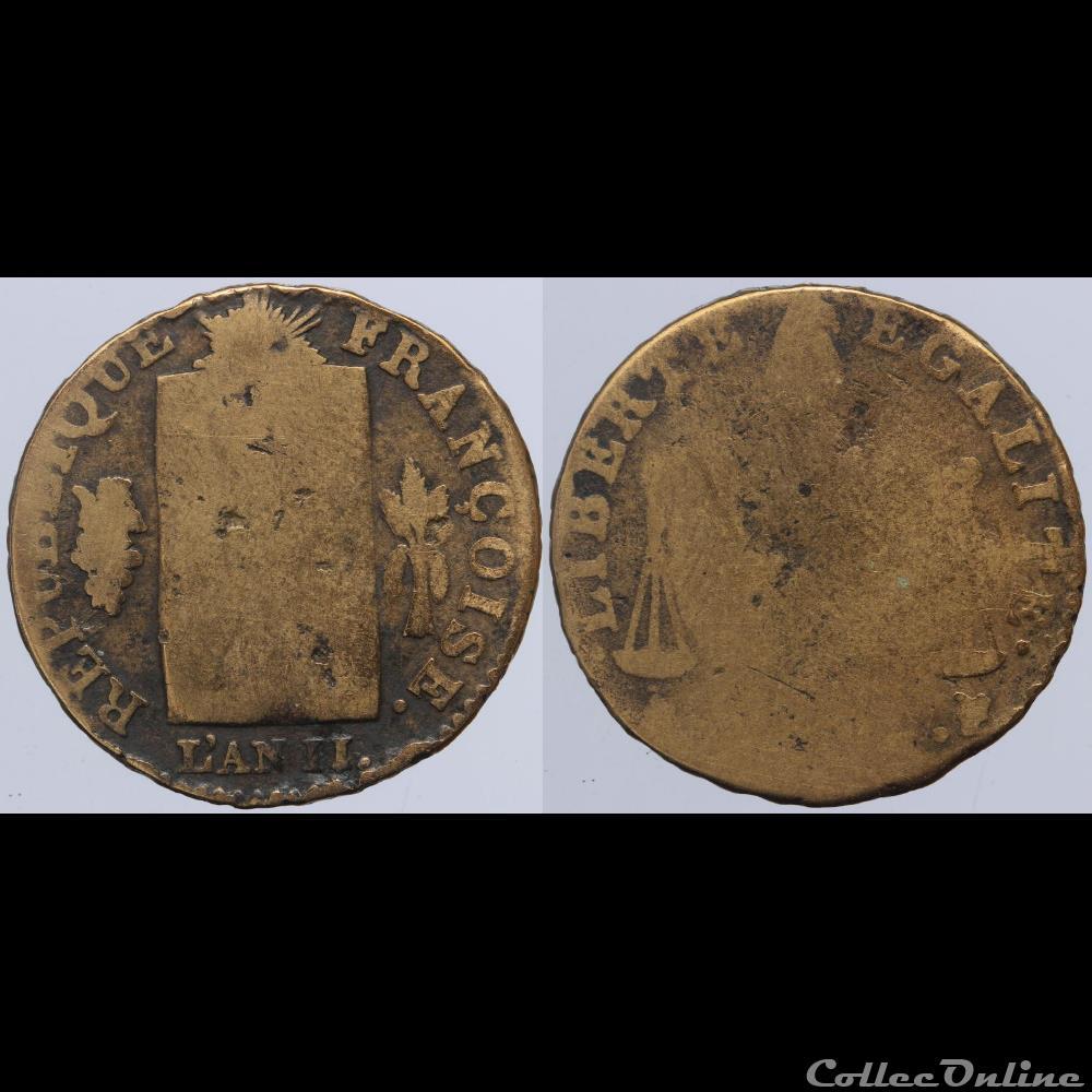 monnaie france moderne convention 1 2 sol aux balances 1793 la rochelle