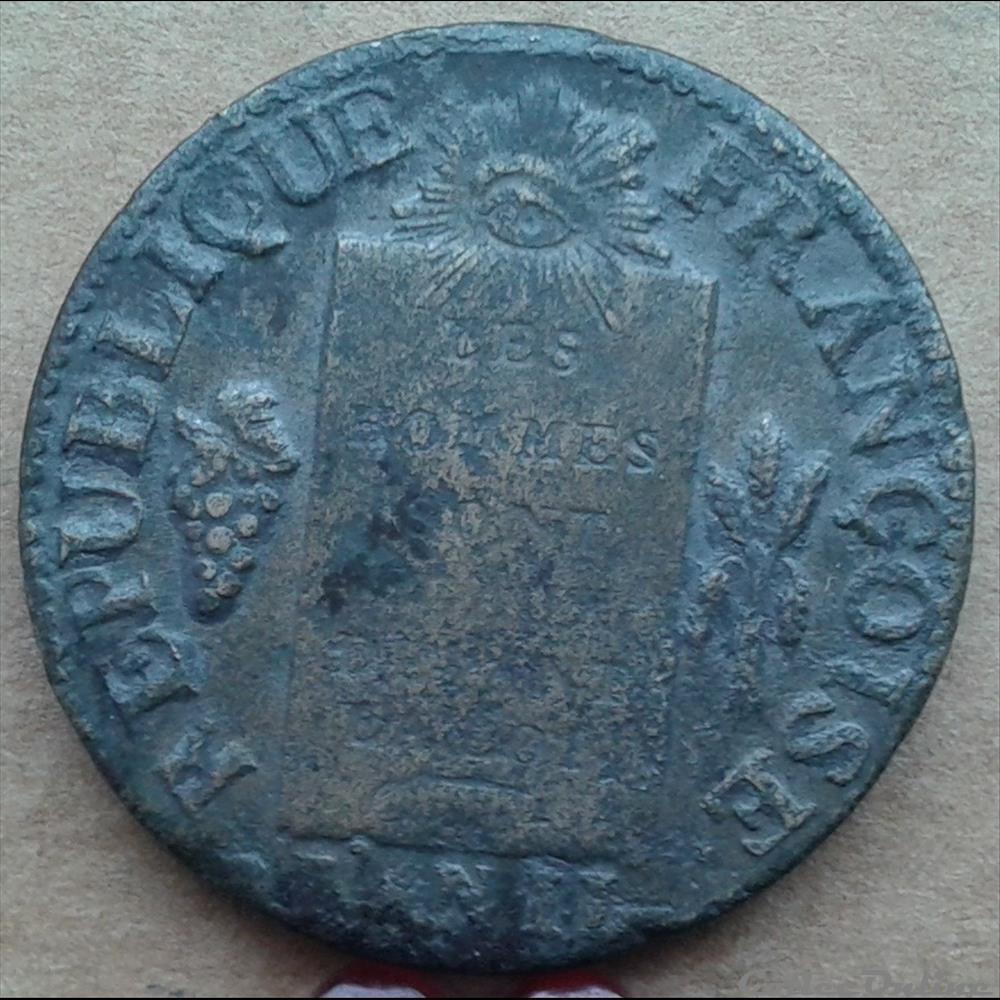 monnaie france moderne 1793 t 1 sol aux balances