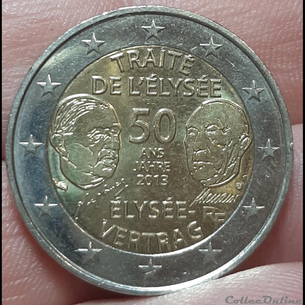 monnaie france 2013 2 euros traite de elysee
